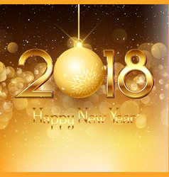 happy new year background with gold text and vector image