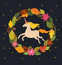 Hello fall autumn unicorn on black background vector