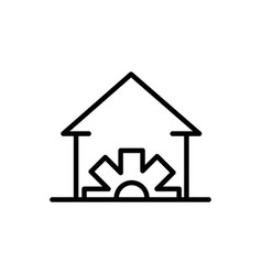 house gear architecture icon line style vector image