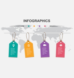 Infographic design template with hanging tag vector