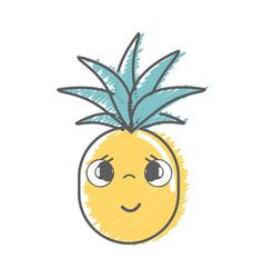 kawaii cute shy pineapple vegetable vector image