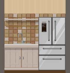 kitchen element with fridge and sink vector image
