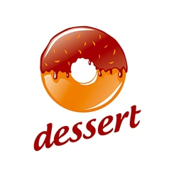 logo round donut with chocolate vector image