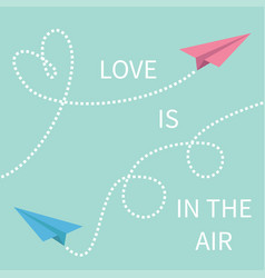 love is in air lettering text two flying vector image