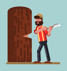 Lumberjack chopped down big tree vector