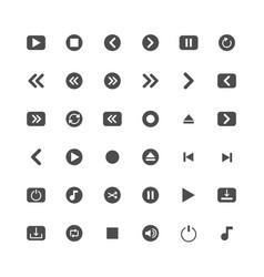 Media solid icon set vector
