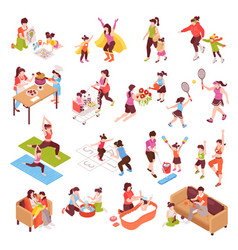motherhood isometric icons set vector image