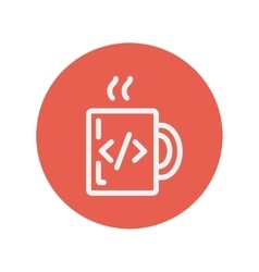Mug with hot coffee thin line icon vector