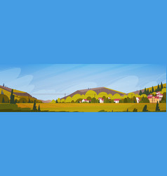 Nature mountains summer landscape with small vector