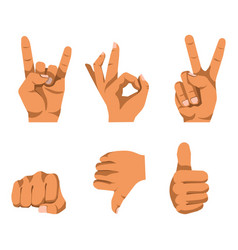 nonverbal communication by hand gesturing set on vector image