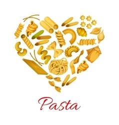 Pasta in shape of heart symbol vector