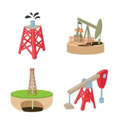Petrol tower icon set cartoon style vector