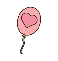 Pink balloon love heart icon vector