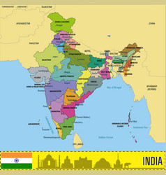 political map of india vector image