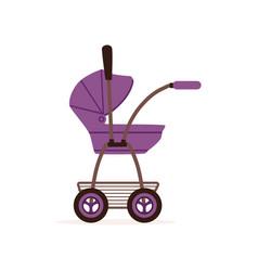 Purple baby pram or stroller safe handle vector