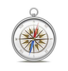 realistic detailed compass with windrose vector image