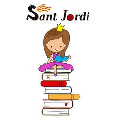 Sant jordi traditional festival catalonia spain vector