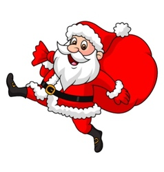 Santa Claus cartoon running with the bag of the p vector