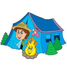 scout camping in tent vector image