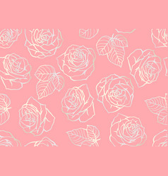 seamless pattern with outline roses beautiful vector image