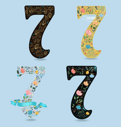 Set of country floral numbers seven vector