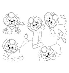 set of cute cartoon lions vector image