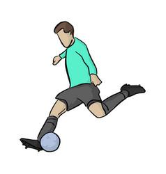soccer player shooting a blue ball vector image
