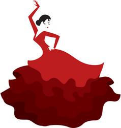 Spanish girl dancing flamenco vector