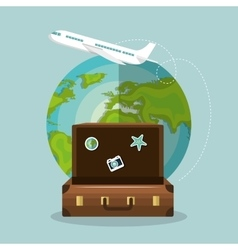 travel suitcase world airplane vacation design vector image