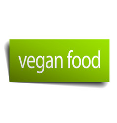 Vegan food square paper sign isolated on white vector