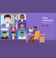 Video conference from home online meeting with vector