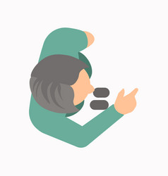 View from above a person talking and pointing vector