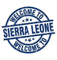 welcome to sierra leone blue stamp vector image