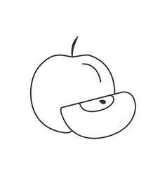 Whole and slice apples icon in black flat outline vector