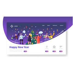 Winter holidays landing page template christmas vector