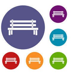 wooden bench icons set vector image