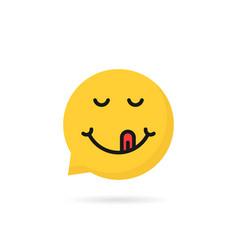 yummy emoji speech bubble logo vector image