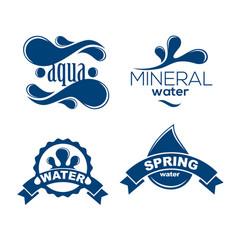 blue logos set label for mineral water aqua vector image