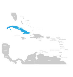 cuba blue marked in the map of caribbean vector image