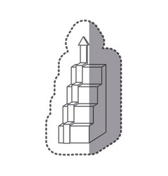 figure cubes with arrow up icon vector image