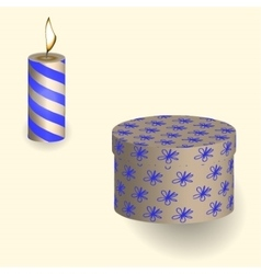 Gift in the box and and burning candle pattern vector image vector image