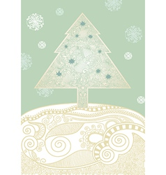 hand draw ornate christmas tree vector image
