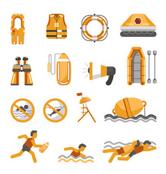safety on water flat icons set for vector image