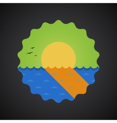 Summer Travel Sea Sunset flat icon vector image vector image