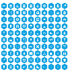 100 school years icons set blue vector image vector image