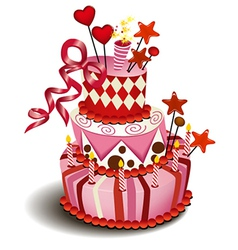 Big pink cake vector image vector image