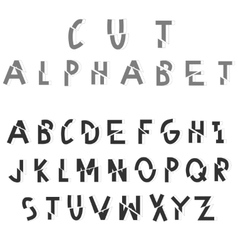 Cut sliced alphabet vector image