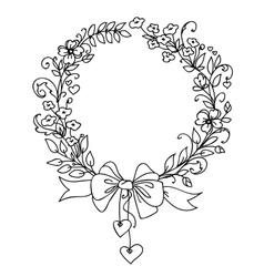 Floral vintage hand drawn wreath vector image