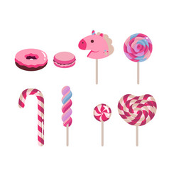 set of flat candies candy cane donut vector image