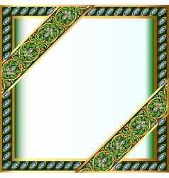 backgrounds frame with jewels and geometric design vector image